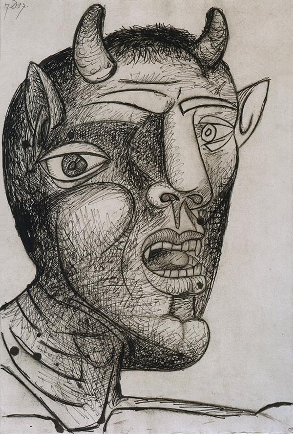 Картина Пабло Пикассо. Голова Минотавра (сатира). 1937