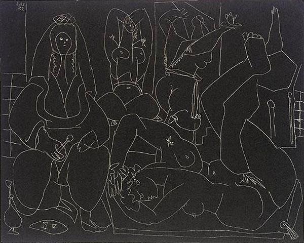 Картина Пабло Пикассо. Алжирские женщины, литография 1. 20 января 1955