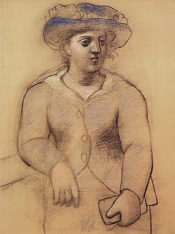 Картина Пабло Пикассо. Женщина в шляпе. 1921