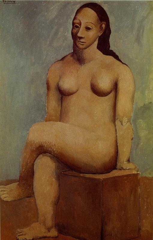 Картина Пабло Пикассо. Обнаженная, сидящая нога-на-ногу. 1906