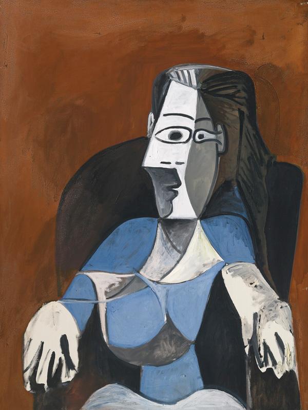 Картина Пабло Пикассо. Женщина, сидящая в черном кресле. 1962 ($8,09 млн)