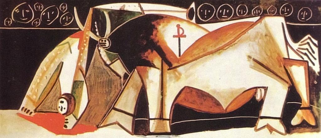 Картина Пабло Пикассо. Сцена корриды. 1955