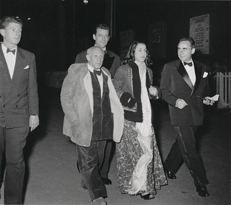 Picasso's son Paul, Picasso, Yves Montand, Françoise Gilot, Henri-Georges Clouzot. Cannes Film Festival, 1953 - Photo by Edward Quinn