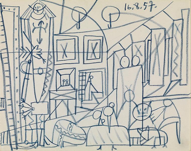 Картина Пабло Пикассо. Эскиз к картине «Менины». 16 августа 1957