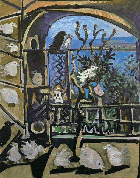 Картина Пабло Пикассо. Голуби (2). 6 сентября 1957