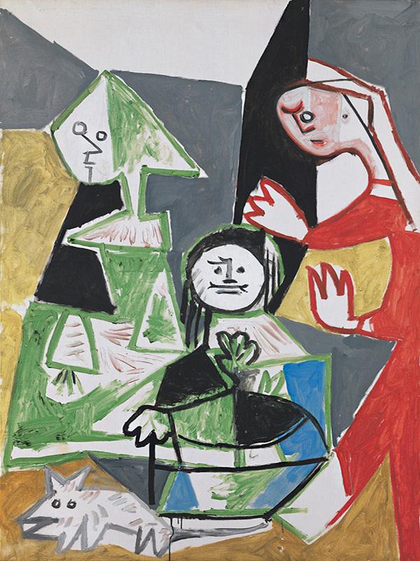 Картина Пабло Пикассо. Менины (Изабелла де Веласко, Мария Барбола и Николас Пертусато). Интерпретация № 33. 24 октября 1957
