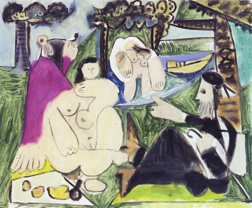 Картина Пабло Пикассо. Завтрак на траве, по Мане. 30 июля 1960