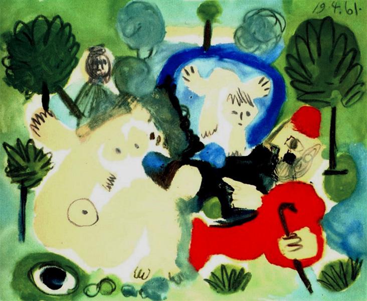 Картина Пабло Пикассо. Завтрак на траве, по Мане. 19 апреля (1) 1961
