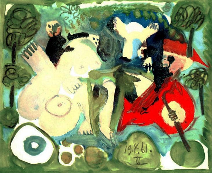 Картина Пабло Пикассо. Завтрак на траве, по Мане. 19 апреля (2) 1961