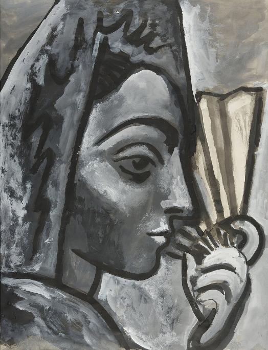 Картина Пабло Пикассо. Испанка с веером. 1958