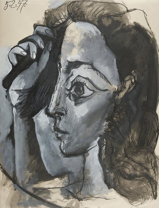 Картина Пабло Пикассо. Женщина расчесывающая волосы. 1957