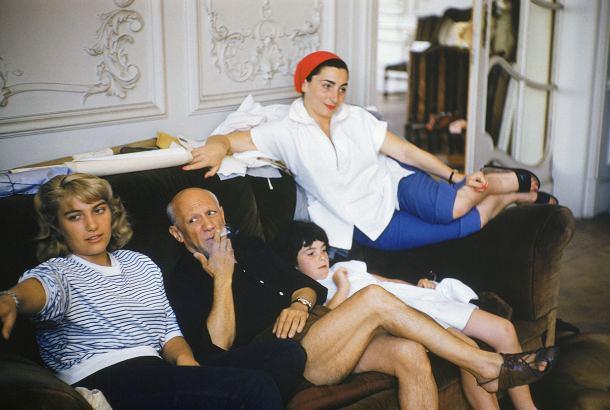 Майя, Пикассо, Кэти и Жаклин, вилла Калифорния, Канны, 1955
